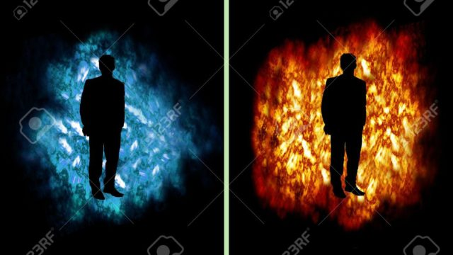 6498172-Business-man-on-fire-and-ice-cloud-Stock-Photo